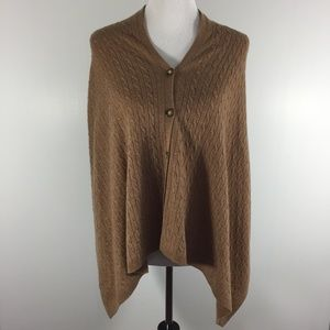 Womens Orvis Cable Knit Scarf Poncho Wrap Tan